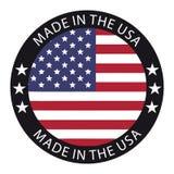 Fait dans le bouton des Etats-Unis - illustration de vecteur - d'isolement sur le blanc illustration de vecteur