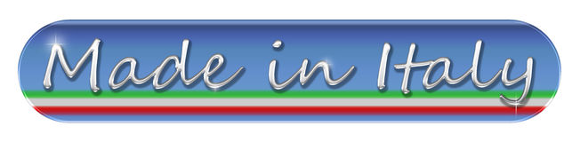 Fait dans le bouton ou l'icône de Web de l'Italie photo stock