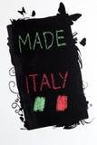 Fait dans le handwrite de l'Italie sur le tableau noir Photo stock