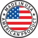 Fait dans le label américain de produit des Etats-Unis avec le drapeau, vecteur illustration libre de droits