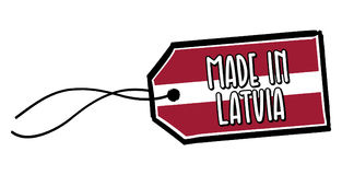 Fait dans le label de la Lettonie Image stock