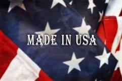Fait dans le message des Etats-Unis sur le drapeau des Etats-Unis Images stock