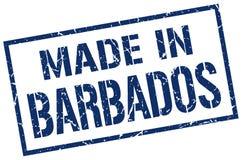 fait dans le timbre des Barbade Photo stock