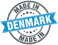 fait dans le timbre du Danemark Photographie stock libre de droits