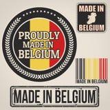 Fait dans le timbre et les labels de la Belgique illustration stock