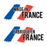 Fait dans les Frances avec le label français de qualité de drapeau sur le fond blanc illustration stock