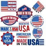 Fait dans les graphiques et des labels des Etats-Unis Image stock