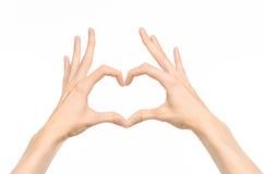 Fait des gestes le sujet : gestes de main humains montrant la vue de la première personne d'isolement sur le fond blanc dans le s Image libre de droits