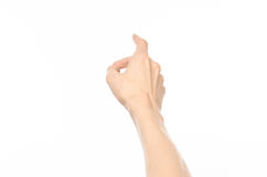 Fait des gestes le sujet : gestes de main humains montrant la vue de la première personne d'isolement sur le fond blanc dans le s photo stock