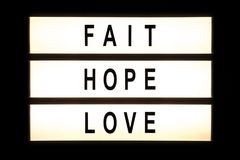 Fait hope love hanging light box Stock Images