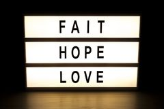 Fait hope love light box sign board Royalty Free Stock Photo