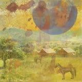 A fait le vieux fond avec un paysage et des chevaux. Images stock
