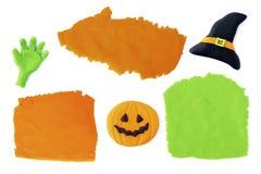 Fait main d'isolement par ensemble de Halloween Images libres de droits