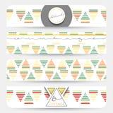 Fait main réaliste de bannière Bannière de vintage avec les modèles géométriques Images stock