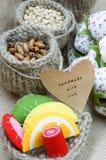 Fait main, vintage, fruit fabriqué à la main, fraise, art Photos stock