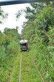 ` Fait maison de train de fantôme de ` fonctionnant sur les voies ferrées abandonnées Photographie stock libre de droits