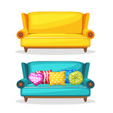 Fait maison doucement coloré de sofa, ensemble 3 illustration libre de droits
