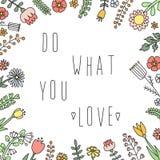 Faites ce que vous voulez le lettrage dans l'illustration florale de vecteur de cadre Style naïf Photos libres de droits