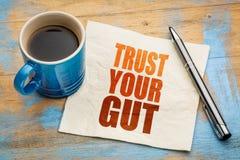 Faites confiance à votre abrégé sur mot d'intestin images stock