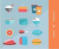 Faites cuire et mangez les icônes illustration stock