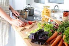 Faites cuire les mains du ` s préparant la salade végétale - tir de plan rapproché Photos stock