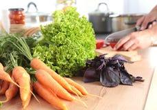 Faites cuire les mains du ` s préparant la salade végétale - tir de plan rapproché Photographie stock libre de droits