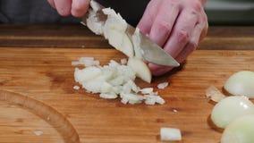 Faites cuire les oignons de tranches sur une planche ? d?couper D?coupez en tranches, naturel image stock