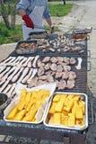 Faites cuire tout en faisant cuire dans une grille d'un barbecue pour griller le poulet Image stock