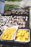 Faites cuire tout en faisant cuire dans une grille géante d'un barbecue extérieur pour le GR Image stock