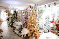 Faites des emplettes avec des arbres de Noël, des jouets, la guirlande et tout autre décor Photographie stock