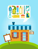 Faites des emplettes avec la collection de différentes alimentations de produits domestiques et stabilisé Images stock