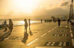 Faites du roller les patineurs à Nice photo stock