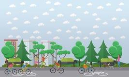 Faites du vélo le chemin dans l'illustration de vecteur de concept de parc, style plat Images stock