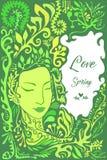 Faites face à la fille dans le feuillage, herbes, fleur Carte décorative avec l'endroit pour le texte Illustration Stock
