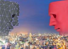Faites face à la technologie de systèmes d'apprentissage automatique de balayage et au fond biométriques précis de ville d'intell photographie stock