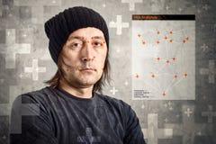 Faites face au logiciel de détection identifiant un visage de l'homme images stock