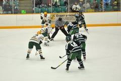 Faites face hors fonction dans le jeu de hockey sur glace Photos libres de droits