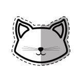 faites face ligne animale pelucheuse ombre de point de chat à la belle Images libres de droits