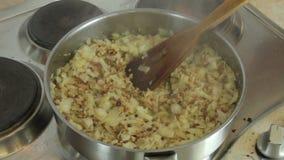 Faites frire les légumes avec de la viande hachée dans une poêle banque de vidéos