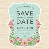 Faites gagner la date, épousant le calibre de carte d'invitation avec le style tiré par la main de vintage de fleur de guirlande  illustration de vecteur