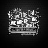 Faites gagner la date pour des vacances personnelles. Invitation de mariage. Vecteur i Image stock