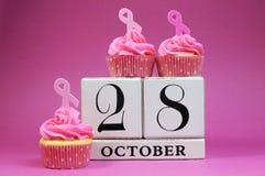 Faites gagner la date pour le jour rose de ruban Photo stock