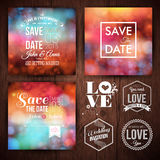 Faites gagner la date pour les cartes personnelles de vacances Ensemble d'invitation de mariage Photographie stock