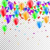 Faites la fête le fond avec des ballons et le vecteur de drapeaux, les confettis colorés et les festons sur le fond transparent illustration libre de droits