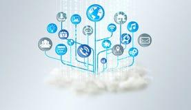 Faites le tour au-dessus d'un nuage avec l'icône moderne d'application Image libre de droits