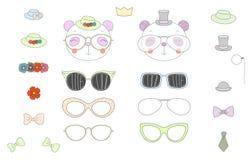 Faites-le vous-même des têtes de panda avec des verres et des accessoires Image libre de droits