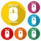 Faites-le vous-même l'icône, icône de couleur avec la longue ombre Images libres de droits