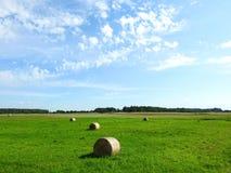 Faites les foins les boules en champ et beau ciel nuageux, Lithuanie Photographie stock