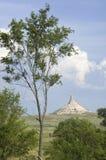 Faites les foins les cautions devant le site historique national de roche de cheminée Images libres de droits