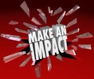 Faites les mots de l'impact un 3D cassant la différence importante en verre Photos stock